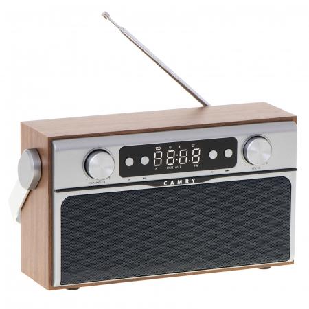 Radio bluetooth 5.0 MECR1183 portabil cu aspect retro,  memorie 50 posturi, redare de pe USB si card SD, intrare auxiliara, ceas, putere 16W6