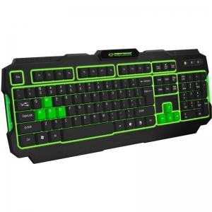 Tastatura gaming USB, iluminata LED verde, 104 taste, Shadow Esperanza0