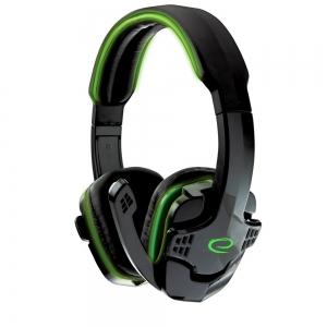 Casti gaming stereo cu microfon si control volum RAVEN Verde fir textil 2m 2 x jack 3.5mm0