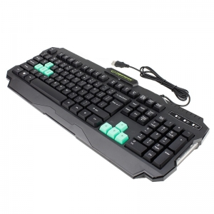Tastatura gaming USB, iluminata LED verde, 104 taste, Shadow Esperanza1