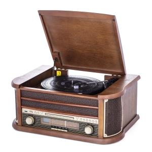 Pick up retro sistem audio vintage carcasa din lemn, radio, CD, port USB intrare auxiliara si inregistrare0