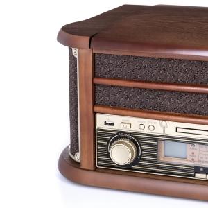 Pick up retro sistem audio vintage carcasa din lemn, radio, CD, port USB intrare auxiliara si inregistrare2