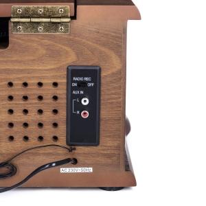 Pick up retro sistem audio vintage carcasa din lemn, radio, CD, port USB intrare auxiliara si inregistrare4