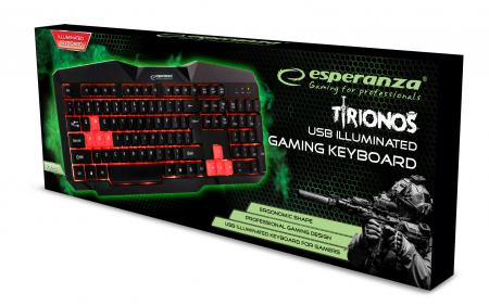 Tastatura gaming iluminata LED rosu, design profesional gaming, forma ergonomica, fir USB1
