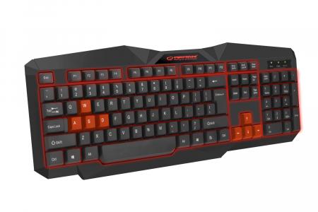 Tastatura gaming iluminata LED rosu, design profesional gaming, forma ergonomica, fir USB0
