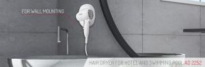 Uscator de par pentru perete, 2 viteze, 1600W, ideal pentru hotel, oprire automata, cablu 1.6 m, alb2