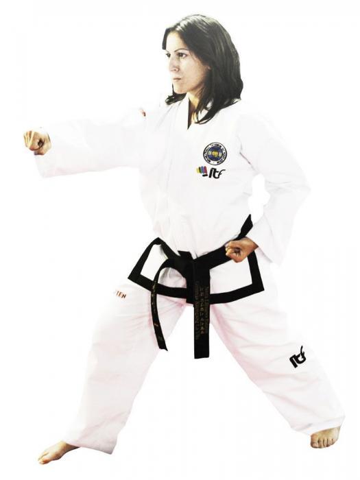 Kimono Dobok,Top Ten, Pattern ITF pentru Taekwon-do, alb,160 cm [0]