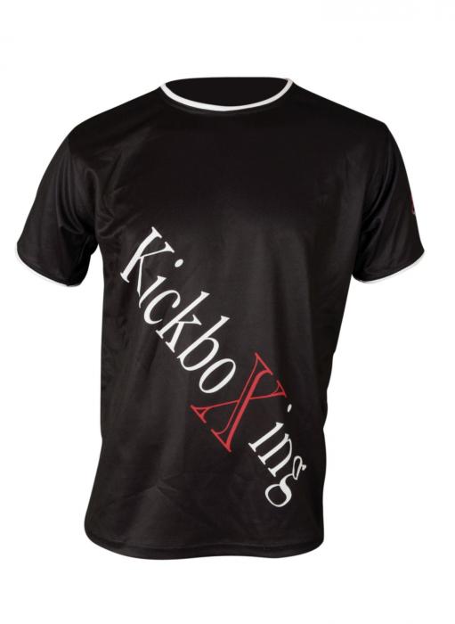 """Tricou """"KickboXing"""" cu imprimeu în diagonală [0]"""