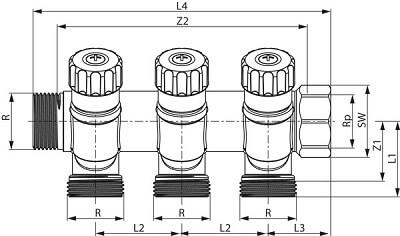 distribuitor modular cu 3 cai tece