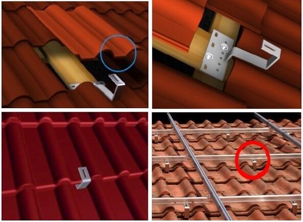 Instalare suport de inox pe acoperis cu tigla pentru panouri solare