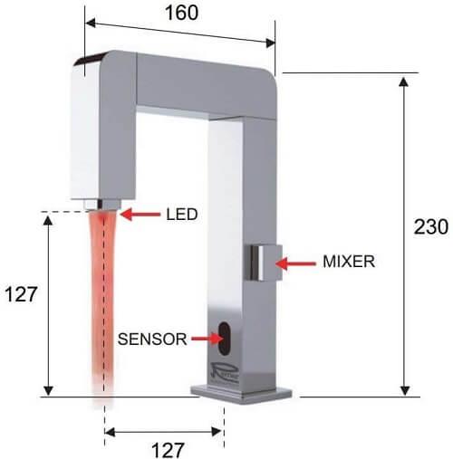 Dimensiuni baterie cu senzor si led color Remer SE18RD
