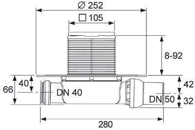 Dimensiuni set complet sifon extraplat cu intrare laterala si iesire pe orizontala