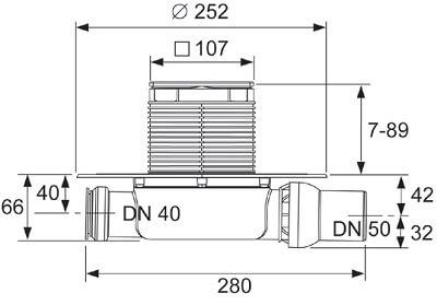 Dimensiuni sistem de drenaj cu sifon extraplat, intrare si evacuare pe laterala