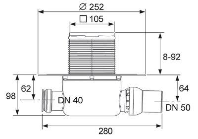 Dimensiuni set sifon standard cu intrare si evacuare pe laterala