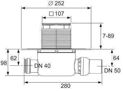 Dimensiuni set cu sifon standard cu evacuare pe orizontala