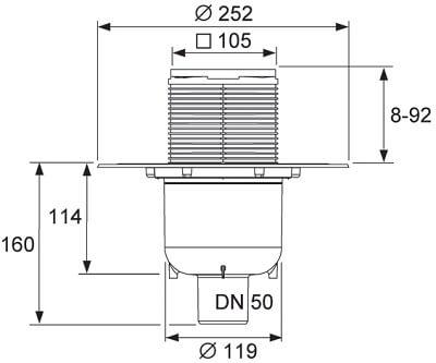 Dimensiuni set drenaj cu sifon vertical DN50, TECEdrainpointS 130