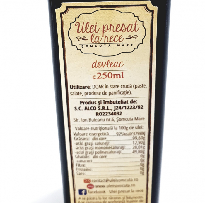 Ulei de dovleac presat la rece - 250 ml 2