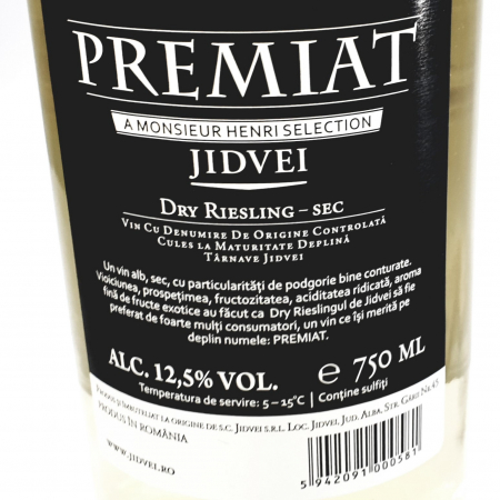 Vin alb sec - Jidvei Premiat Dry Riesling -1