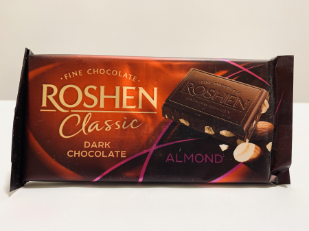 Roshen Classic Dark Chocolate Almond0