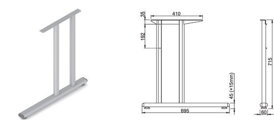 Stand metalic mobilă birou System Back Ava 1