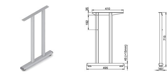 Stand metalic mobilă birou System Back Ava 2
