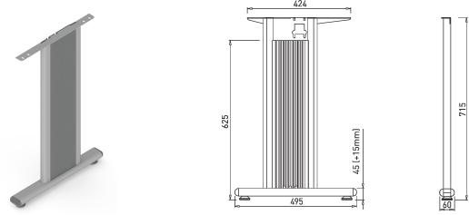 Stand metalic mobilă birou System Desk Bar Como 2