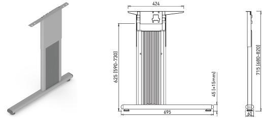 Stand metalic mobilă birou System Desk Bar Como 3