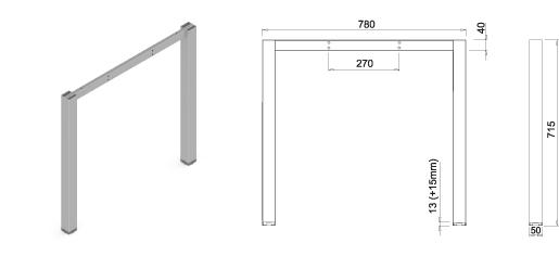 Stand metalic mobilă birou System Frame Cubo [1]