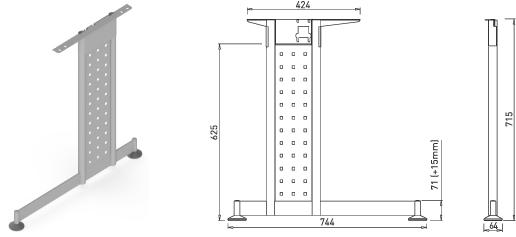 Stand metalic mobilă birou System Desk Bar Mark 1