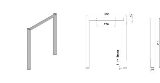 Stand metalic mobilă birou System Frame Oxo 50 2