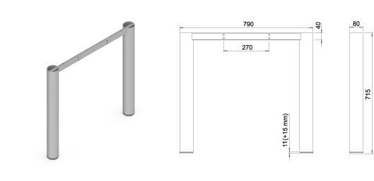 Stand metalic mobilă birou System Frame Oxo 80 1