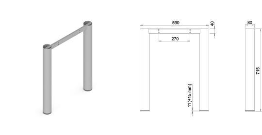 Stand metalic mobilă birou System Frame Oxo 80 2
