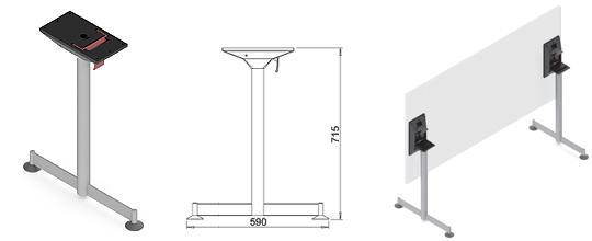 Picioare metalice mobilă birou independente Park-Z 1