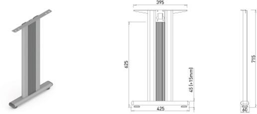 Stand metalic mobilă birou System Desk Bar Tempo 2