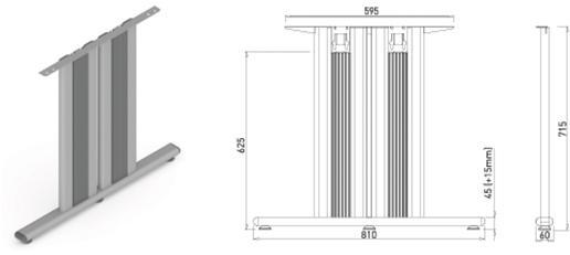 Stand metalic mobilă birou System Desk Bar Tempo 3