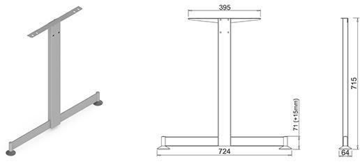 Stand metalic mobilă birou System Desk Bar Tend 1