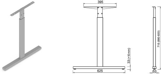 Stand metalic mobilă birou System Desk Bar Till 3