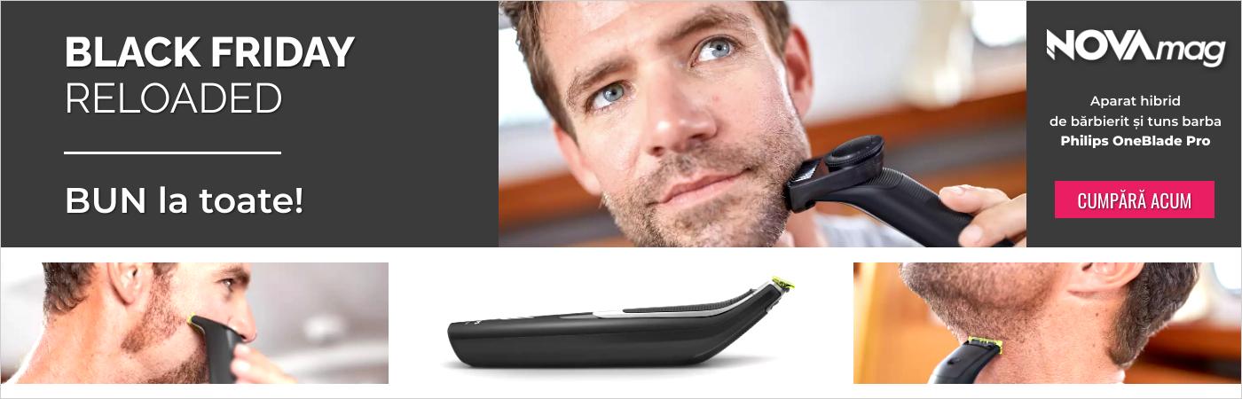 Aparat hibrid de barbierit si tuns barba Philips OneBlade Pro QP6510/20