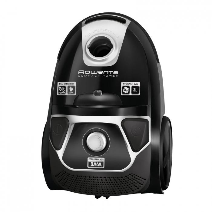 Aspirator Rowenta Compact Power Animal Care, RO3985EA, 750W, Tub telescopic din metal, Sac Hygiene+, Negru