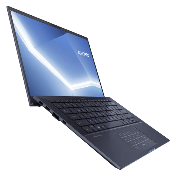 Laptop UltraPortabil Business ASUSPro B9 B9450FA-BM0261R, 14 FHD (1920x1080), antire-glare (mat), deschidere lid 180 grade, NanoEdge, 94 procente screen-to-body ratio; Intel Core i7-10510U (1.8GHz, up to 4.9GHz, 8MB), video integrat Intel UHD Graphics 620, RAM 16GB LPDDR3, SSD 1024GB 1