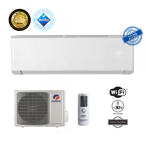 Aparat de aer conditionat Gree G-tech GWH12AEC-K6DNA1A Inverter 12000 BTU, Clasa A+++, Inverter, Extra performanta, generator Cold Plasma, filtru I Feel, Buton Turbo, Auto-diagnoza, Wi-FI, Display LED 3