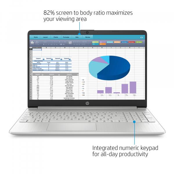 Resigilat - Laptop HP 15-DY1091WM, 15.6'', HD, Intel® Core™ i3-1005G1 (4M Cache, up to 3.40 GHz), 8GB DDR4, 256GB SSD, Intel UHD, Windows 10, Silver, 1F8Z8UA 5