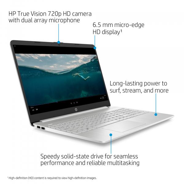 Resigilat - Laptop HP 15-DY1091WM, 15.6'', HD, Intel® Core™ i3-1005G1 (4M Cache, up to 3.40 GHz), 8GB DDR4, 256GB SSD, Intel UHD, Windows 10, Silver, 1F8Z8UA 4