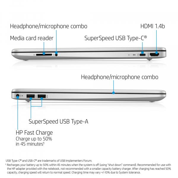 Resigilat - Laptop HP 15-DY1091WM, 15.6'', HD, Intel® Core™ i3-1005G1 (4M Cache, up to 3.40 GHz), 8GB DDR4, 256GB SSD, Intel UHD, Windows 10, Silver, 1F8Z8UA 6