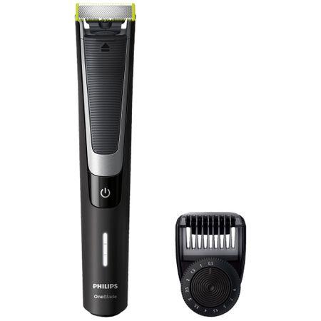 Aparat hibrid de barbierit si tuns barba Philips OneBlade Pro QP6510/20, Pieptene de precizie cu 12 lungimi, Acumulatori, Negru 0