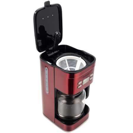 Cafetiera Daewoo DCM1000R, 1000 W, 1.5 l, Filtru permanent, Timer 24 ore, Indicator nivel apa, Design ergonomic, Rosu/Negru 3