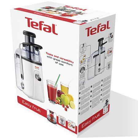 Storcator de fructe si legume Tefal Easy Fruit ZE581B, 700 W, Recipient suc 1.25 l, Recipient pulpa 3 l, 2 Viteze, Tub de alimentare 75 mm, Alb