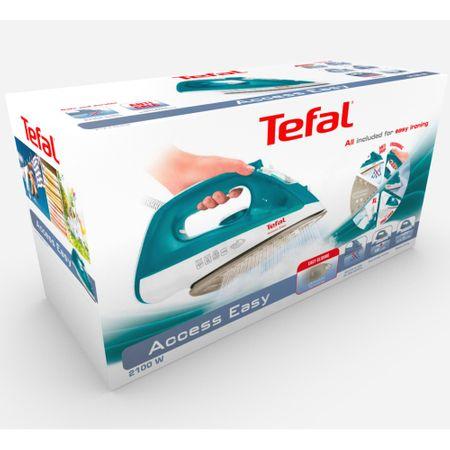 Fier de calcat Tefal FV1542E3 Access Easy, 2000W, Sistem anticalcar, 100g/min, 25g/min, Talpa ceramica, 0.25l, Alb/Turcoaz 1