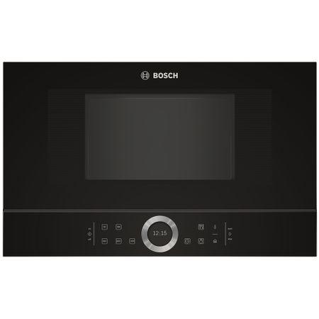 Cuptor cu microunde incorporabil Bosch BFL634GB1, 21 l, 900 W, 7 Programe, Inel rotativ, Touch control, Display TFT, Negru 0