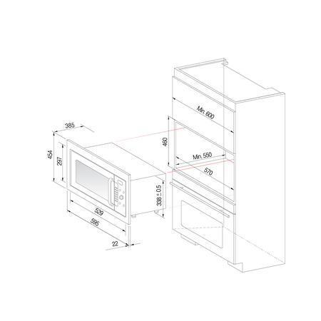 Pachet cuptor microunde incorporabil Daewoo KOC-9Q4T, 28 l, 900 W, Control digital, Curatare cu aburi, Convectie, Gratar, Inox + kit instalare KIT-9Q40 1